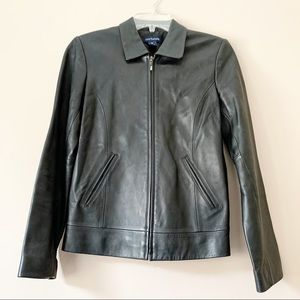 Ann Taylor 100% Leather Black Front Zip Jacket XS